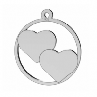 Sterling Silver Two Heart Pendant 16mm For Engraving